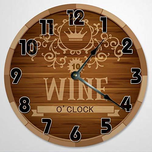 Reloj de pared con diseño de vino, reloj de pared redondo, barril, ataúd, madera rústica, 12 pulgadas, funciona con pilas, decoración de pared de granja, decoración del hogar