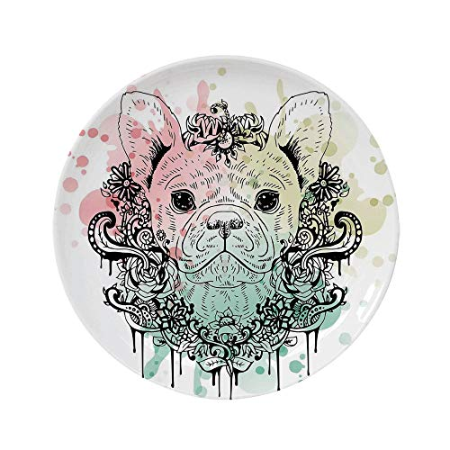 Ylljy00 Animal 6' Dinner Plate,French Bulldog with Floral Wreath on Brushstroke Watercolor Print Ceramic Decorative Plates,Dining Table Tabletop Home Decor,Mint Pale Green