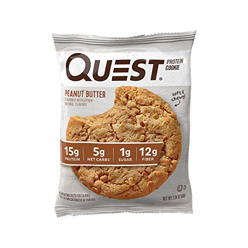 Quest Nutrition Peanut Butter Protein Cookie, High Protein, Low Carb, Gluten Free, 12 Count
