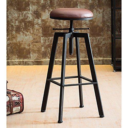 XQAQX Tabouret barkruk, industriële kruk, ontbijtshocker, Iron-Art, van massief hout, barstoel, barkruk van leer, barstoel