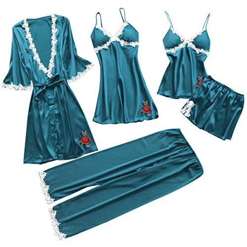 AIni Damen Nachthemden,Elegant Sexy Dessous Nachtwäsche Unterwäsche Puppe Nachtwäsche Kleid 5PC Passen Morgenmäntel Schlafanzüge