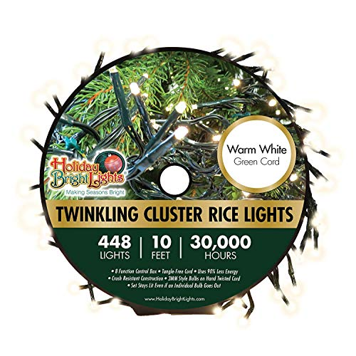 """448 LED Warm White Twinkling Cluster Rice Lights, 10'x5"""" Garland of Lights, Soft White Glow, 8 Different Modes - Including Steady & Slow Twinkle, 30,000 Hours of Bright LEDs, Hassle-Free, Perfect for"""
