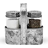 Farmhouse Salt and Pepper Shakers With Caddy Set by Saratoga Home - Add Cute, Rustic Charm to Your Home, Padded Feet, Easy to Clean & Refill, Each Shaker Holds ½ Cup With Easy Pour Design