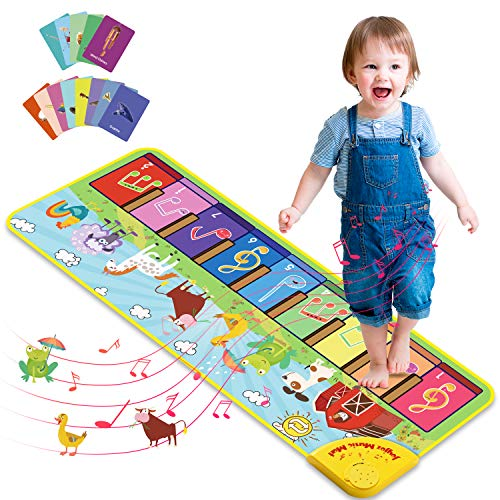 Joyjoz Kids Piano Mat with 25 Sounds, Music Dance Mat for Toddlers, Childrens Keyboard Mat Animal Musical Playmat for Baby Toddlers Boys Girls 1-5 Years Old (100*36cm)