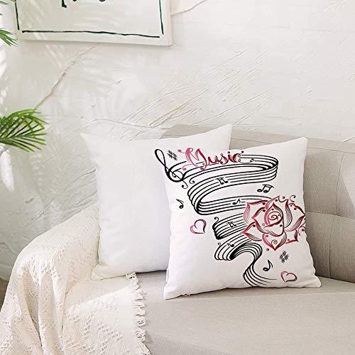 Zierkissenbezug- ohne Füllung-Dekor, Bleistiftzeichnung romantische Sanduhr Symbol der ewigen Li,Zierkissenhülle Dekorative Kissenbezug Dekokissen Kissenhülle mit Verstecktem Reißverschluss 50x50 cm