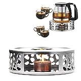 HENGBIRD Scaldasalviette da tè in acciaio inox con porta tealight, design intagliato, ris...