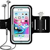 Smartlle Phone Armband Running Workout Holder for iPhone 11/11 Pro Max/Xs Max/XR/8 Plus/7 Plus/6s Plus, Samsung Galaxy S/Note, Up to 6.5'' Large Phones, Fitness Gym Gear for Sports, Exercise-Black