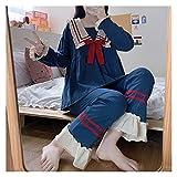 CDDKJDS Verano Sweet Sailor Collar Bow Tacksuit Lindo Empalme Pijamas Inicio Kawaii Ruffles Camisas Dibujos Animados Dos Piezas (Color : Full Sleeve, Size : One Size)