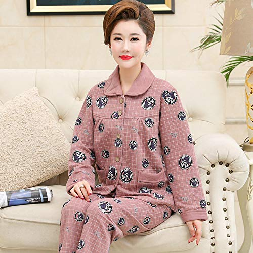 DFDLNL Conjuntos de Pijamas laminados Acolchados Finos para Mujer 100% algodn Animal Perro Mujer Ropa de Dormir Traje 2 Piezas Invierno hogar saln Regalo XXL