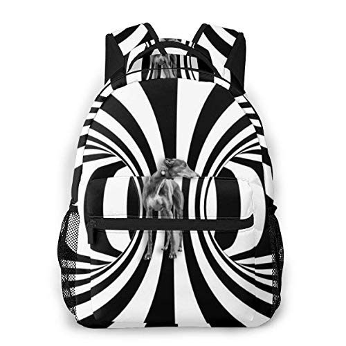 Yuanmeiju Fashion Unisex Backpack Black and White Spiral Bookbag Lightweight Laptop Bag for School Travel Outdoor Camping