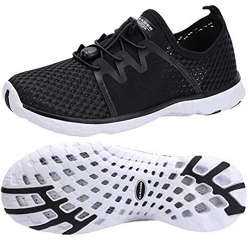 ALEADER Men's Mesh Slip On Water Shoes Black/White 10.5 D(M) US