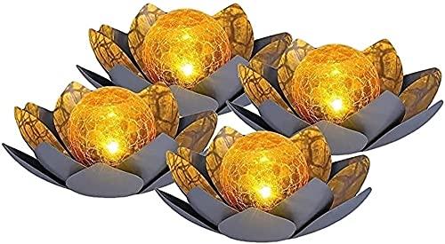 LIUPING Solar Light Garden, LED Solar Lotus Lantern, Lotus Lantern Metal Solar Lamp For Garden, Lotus Blossom Floating Lights Pond Light, Dreamlike Light Effects Garden Lighting