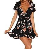 riou Vestidos Mujer Casual Vestido Largos de Fiesta Manga Corta Verano Florales Camiseta con Cuello en V Vestido Mini Falda de Playa
