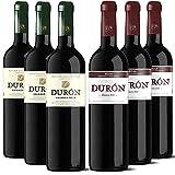 Durón – Vino Tinto Crianza 2016 y 2017 – D.O. Ribera del Duero y Rioja, Variedad Tempranillo, 12 meses en barrica – Caja de 6 botellas x 750 ml – Total: 4500 ml