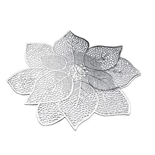Platzsets Set von 6 waschbaren Küchentisch Blumen Platzsets Wasserdicht Wärmeisoliert Getränke Untersetzer, plastik, silber, 40 x 40 cm