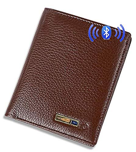 YNSH Portefeuille intelligent anti-égaré avec alarme, porte-monnaie en cuir à trois volets Bluetooth-brown