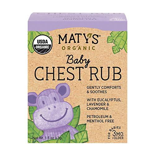 Maty's Organic Baby Chest Rub – USDA Organic & Petroleum Free – Made with Lavender & Chamomile – 1.5 oz