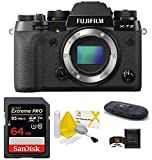 Fujifilm X-T2 Mirrorless Digital Camera Body Bundle, Includes: SanDisk 64GB Extreme PRO SDXC Memory Card, Card Reader and More