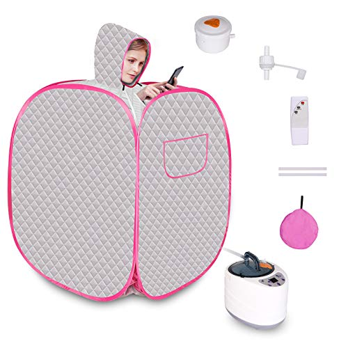 Wodesid Portable Saunas Tent with Steam Generator, Herbal Box, Remote Control Personal Indoor Sauna Spa for Weight Loss, Relaxation at Home