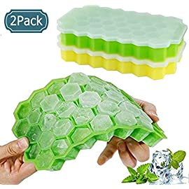2 Pack Ice Cube Tray with Lid, Food Grade Silica Gel Flexible and BPA Free, 37 Ice Cubes Each, Ice Cube Mold Whiskey…