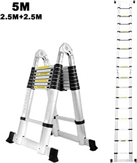 Escalera telescópica de aluminio de 5M, lado doble, 2,5M + 2,5M escalera telescópica escalera plegable escalera multiusos escalera 150 kg capacidad de carga