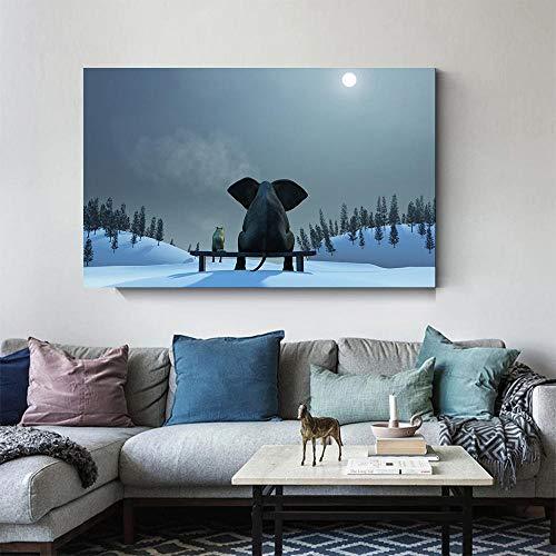 HUANGXLL Divertido Elefante bebé Sentado en una Silla Cartel de Animal impresión Mural Imagen Sala de Estar habitación de los niños decoración moderna-60x90cm-sin Marco