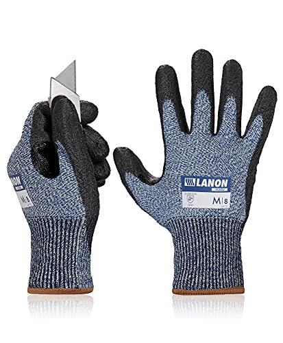 LANON Schnittfeste Handschuhe mit PU-beschichteter Handfläche, Sicherheitsgriff, Arbeitshandschuhe für Mechaniker, Bau, Garten, verstärkter Daumen-Schritt, Größe M