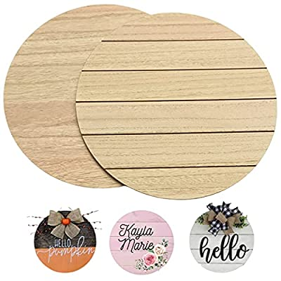 Unfinished Wood Rounds for Crafts - 2 Pack of 14 Inch Diameter Reversible Wood Circles with Real Wood Veneer That Will Not Warp, Wood Slices with Smooth Side and Embossed Shiplap Side by CADE + KAI