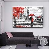 wZUN Amantes románticos bajo el Paraguas Pintura Cartel Big Ben Imagen Mural Abstracta bajo Lienzo de árbol Rojo para la decoración de la Sala de Estar 60X90 Sin Marco