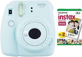 Fujifilm instax Mini 9 Instant Camera (Ice Blue) with Film Twin Pack Bundle (2 Items)