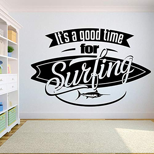 Home Decor Removeable Diy Vinyl Wall Sticker It'S Time For Surfing With Swordfish Surfboard Wall Decal Extreme Sports 、-108X71Cm