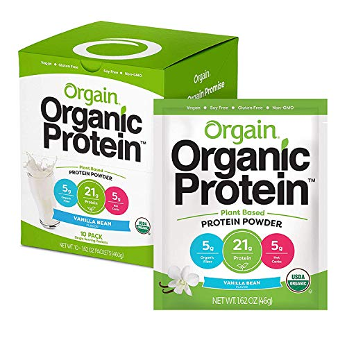 Orgain Organic Plant Based Protein Powder Travel Pack, Vanilla Bean - Vegan, Low Net Carbs, Non Dairy, Gluten Free, Lactose Free, No Sugar Added, Soy Free, Kosher, Non-GMO(Packaging May Vary)