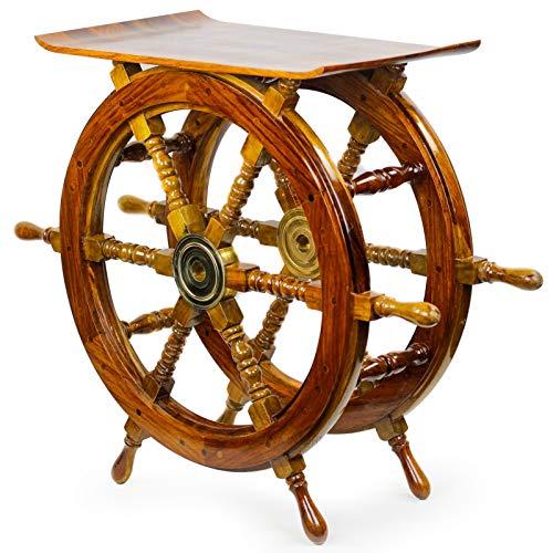 Stylla London handgefertigter indischer Sheesham-Piratenschiff-Tisch oder nautischer Beistelltisch, Palisander, braun, 42 x 61 x 31 cm