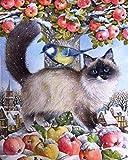 Kit de punto de cruz Kits de bordado de tela estampada con gatos para principiantes, niños y adultos con patrón impreso de 11 quilates - 16 x 20 pulgadas