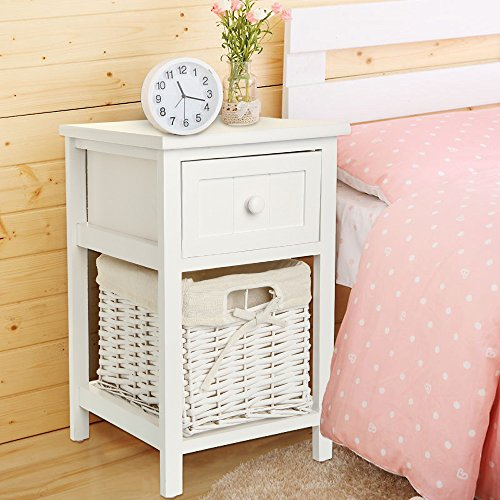 Quieting Shabby Chic Bedside Table Storage Unit White With Wicker Storage Basket (White)