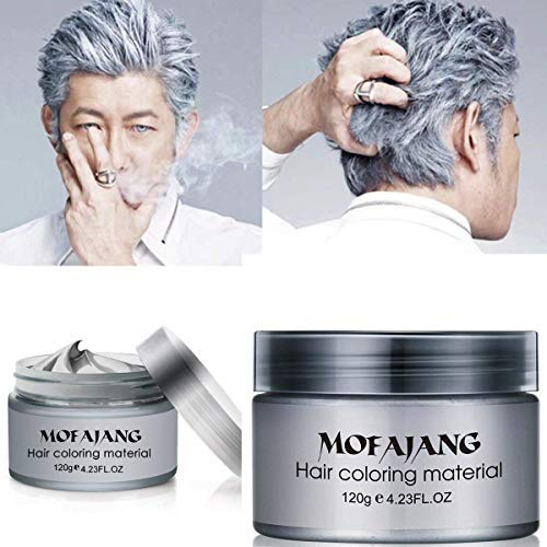 MOFAJANG Hair Coloring Dye Wax, Instant Hair Wax, Temporary Hairstyle Cream 4.23 oz, Hair Pomades, Natural Hairstyle Wax for Men and Women Party Cosplay (Ash Grey)