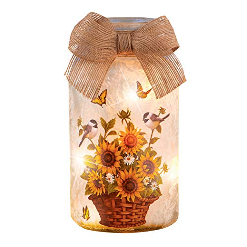 Collections Etc LED Lighted Sunflower Mason Jar Table Lamp with Burlap Bow