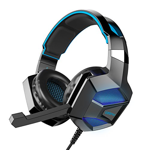 COOAU Stereo Gaming Headset with Mic, LED Lights, Volume Control for PS4, PC, New Xbox One, iPad, Laptop, Smartphones, Noise Cancelling Over-Ear Headphones with 3.5mm Plugs and USB Plugs