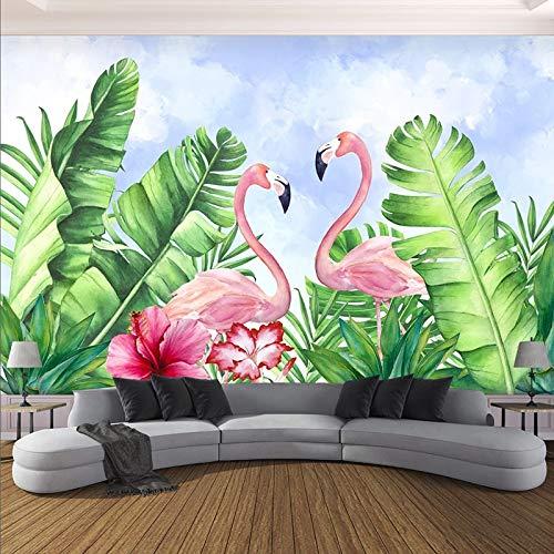 3D Wallpaper Moderne handgemalte grüne Pflanze Blatt rosa Vögel Tier Wandbild Wohnzimmer Esszimmer Kreative 3D Wallpaper Sala-L