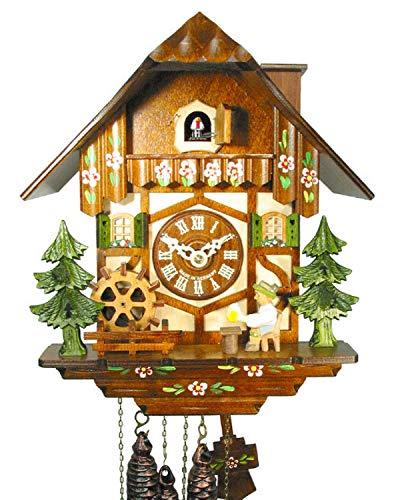 Kuckucksuhr Schwarzwald Kukus-Uhr (original, Zertifiziert), mechanisch 1-Tag-Werk Musik Haus beweglicher Bier-Trinker Mühl-Rad Kamin-Feger Kukuksuhr Cuckoo Clock Schwarzwalduhr Kuckusuhr
