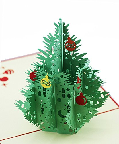 ENJOYPRO Christmas Cards, 3D Pop Up Christmas Tree Greeting Cards, Laser Cut card with Envelope for Xmas and Happy New Year (3D Christmas Tree, Pack of 8)