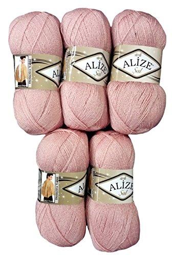 Alize 5 x 100 g Glitzerwolle SAL zum Stricken und Häkeln, 500 Gramm Metallic – Wolle (Altrosa 161)