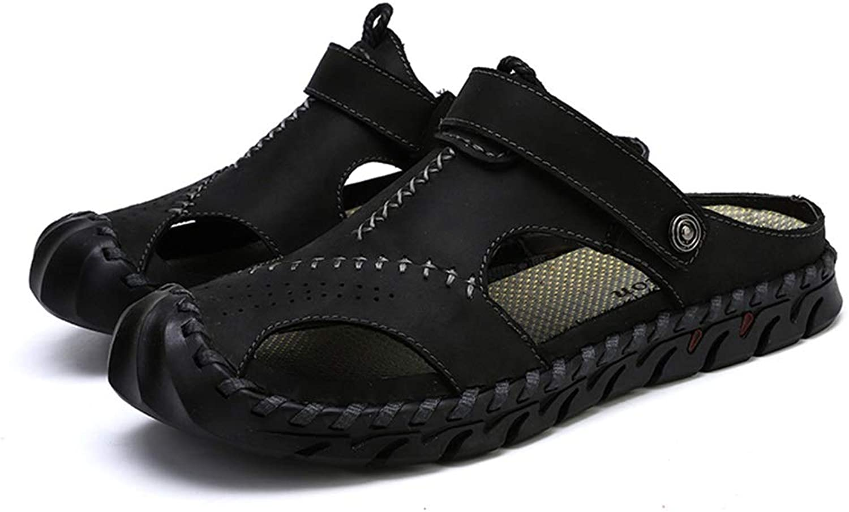 Herren Anti Anti Anti Slip Sandalen Closed Toes Hausschuhe Slip on Echtes Leder Hand Nähen Schuhe Weiche Atmungsaktive Einlegesohle,Grille Schuhe 87c633