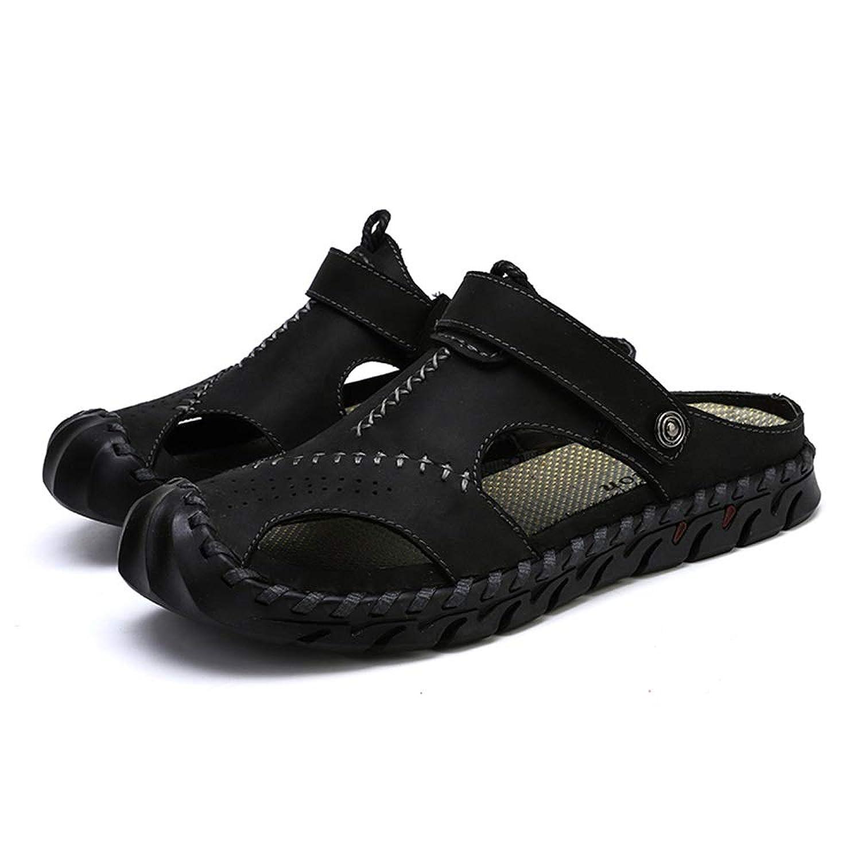 メンズ シューズ 快適 メンズアンチスリップサンダルつま先スリッパスリップオン本革ハンドミシンの靴柔らかい通気性のインソール