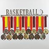 Basketball - Colgador de medallas Deportivas - Medallero de Pared Baloncesto, Basket - Sport Medal Hanger - Display Rack (450 mm x 80 mm x 3 mm)