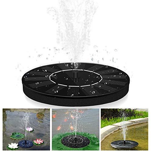 OVAREO Solar Springbrunnen, Garten Solar Teichpumpe Outdoor Wasserpumpe mit 6 Wassersprühzubehör, Solar schwimmender Fontäne Pumpe für Gartenteich, Fisch-Behälter, Vogel-Bad (Schwarz)