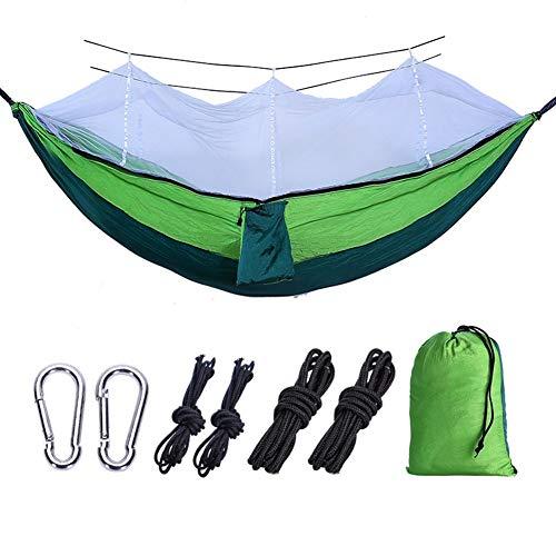 Tragbar Doppelmoskitonetz Hängematte 210t Nylon Seide Parachute Tuch Outdoor-Camping-Zelt Laden 300KG Für Reisen im Freien (Color : Dark Green Fruit Green, Size : 260x1401cm)