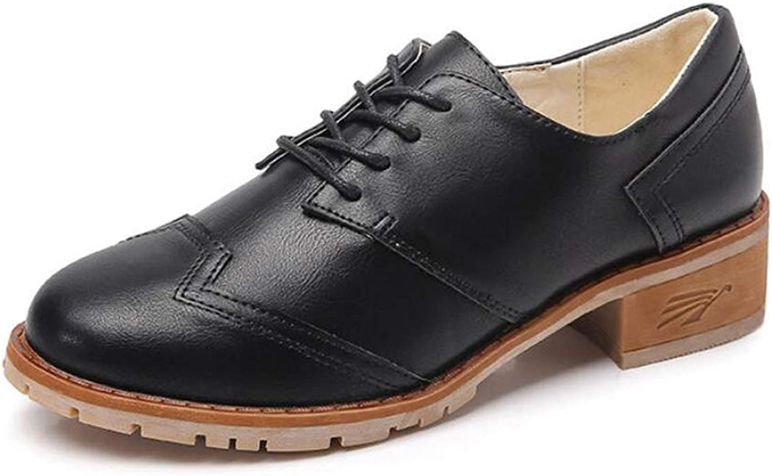 DANDANJIE Women's Leather shoes Autumn Casual Student Lace-up shoes British Large Size shoes