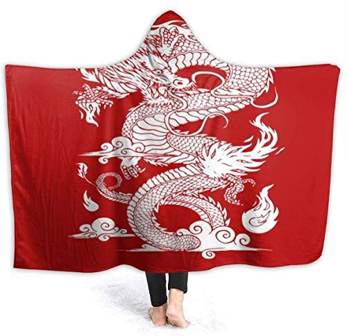 Chinese Dragon Hooded Blanket Komfortable Microplush Anti-Static Blanket Tragbare Warm Home Hooded 3D-Druck Bademantel Komfortable Hooded Blanket
