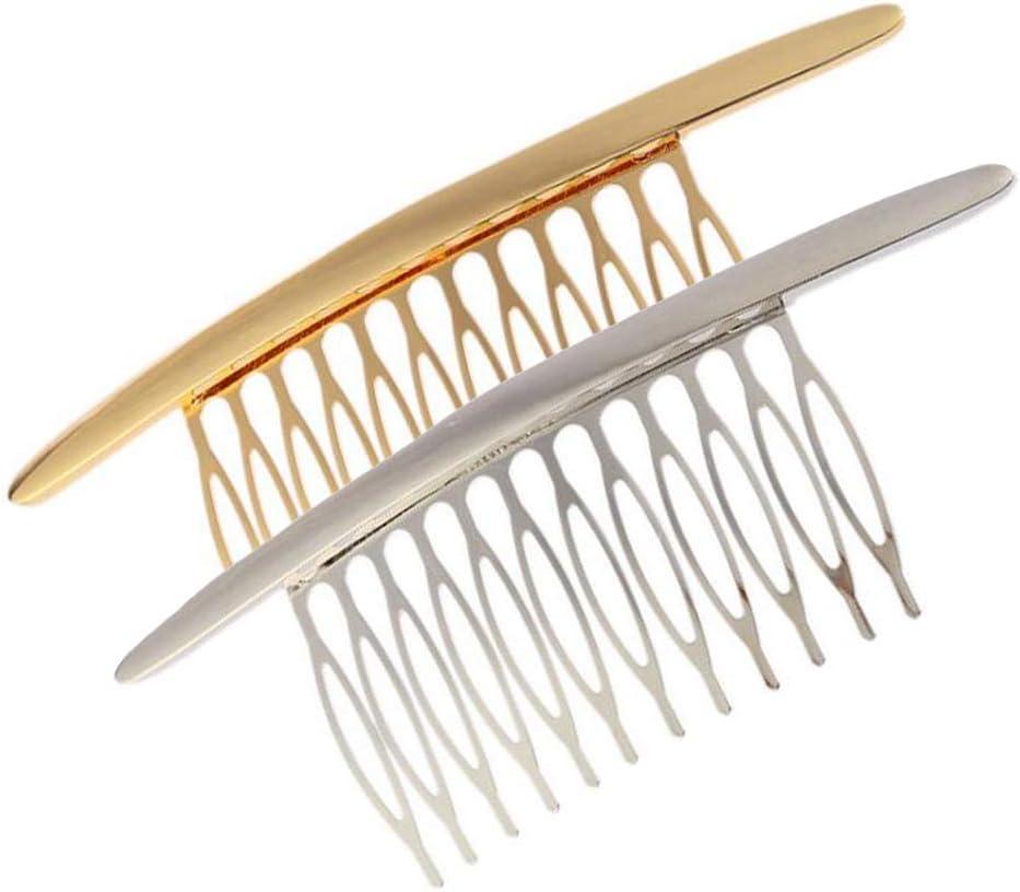 2PCS Peine lateral de aleación curva Peines para el cabello Peinetas para el cabello French Twist Insert Grips Barrette Hair Accesorio para mujeres niñas (plata + oro)